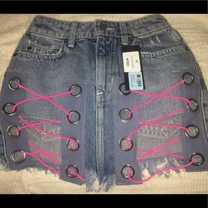 Colin Denim Skirt with Sexy Neon (NWT)
